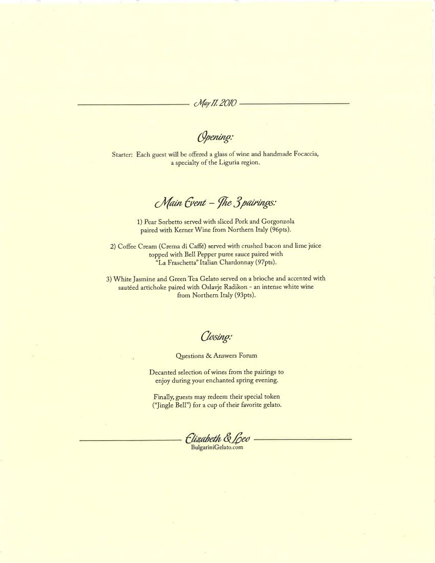 Chef's Table – Bulgarini Gelato